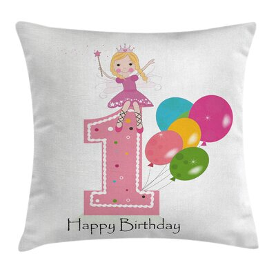 Birthday Princess Theme Party Square Pillow Cover Size: 20 x 20