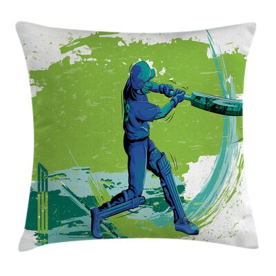 Sports Cricket Player Pitching Pillow Cover Size: 16 x 16