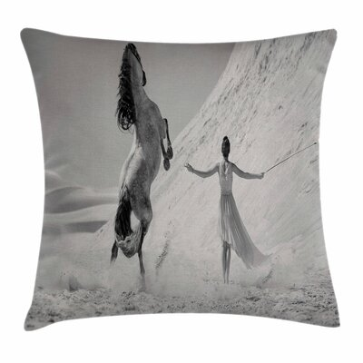 Horse and Lady Square Pillow Cover Size: 20 x 20