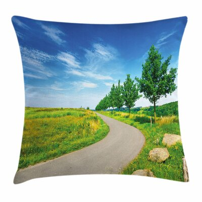 Country Decor Field Road Square Pillow Cover Size: 16 x 16