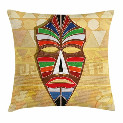 Tiki Bar Decor Primitive Mask Square Pillow Cover Size: 16 x 16