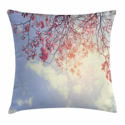 Tree Flowers Sunny Morning Square Pillow Cover Size: 16 x 16