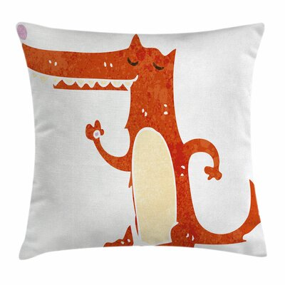 Fox Retro Cartoon Funny Mascot Square Pillow Cover Size: 24 x 24