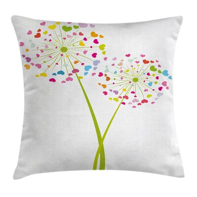 Valentine Dandelions Hearts Pillow Cover Size: 16 x 16