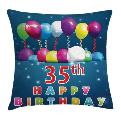 Colorful Surprise Party 35 Year Square Pillow Cover Size: 18 x 18