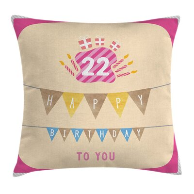 Birthday Candies Cake Candles Square Pillow Cover Size: 16 x 16