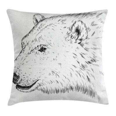 Animal Polar Bear Face Sketchy Square Pillow Cover Size: 18 x 18