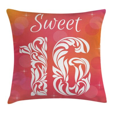 Greeting Happy Birthday Square Pillow Cover Size: 18 x 18