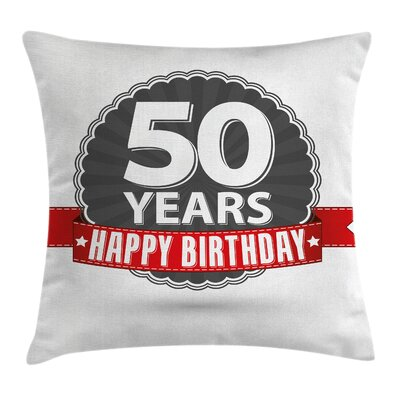 Vintage 50th Birthday Retro Pillow Cover Size: 18 x 18