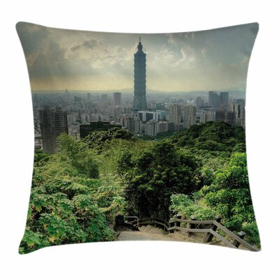 Urban Dramatic Cityscape Taipei Square Pillow Cover Size: 16 x 16