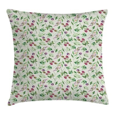 Garden Raspberry Leaves Petals Pillow Cover Size: 18 x 18