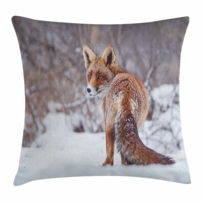 Fox Snowy Country Furry Animal Square Pillow Cover Size: 24 x 24