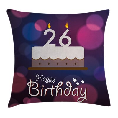 Retro Message Cake Greeting Square Pillow Cover Size: 16 x 16