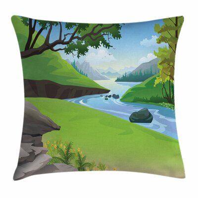 Nature Lake Park Forest Cartoon Pillow Cover Size: 16 x 16