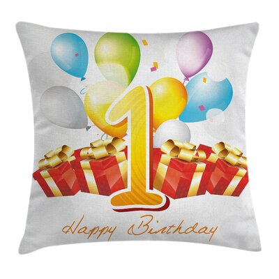 First Birthday Party Square Pillow Cover Size: 18 x 18