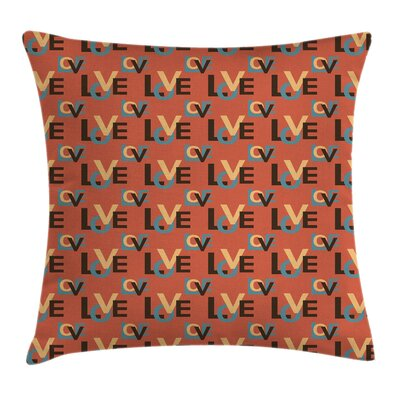 Capital Love Quote Pillow Cover Size: 16