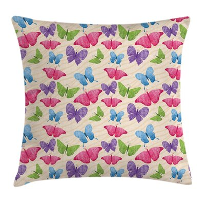 Kids Cute Colorful Butterflies Pillow Cover Size: 24 x 24