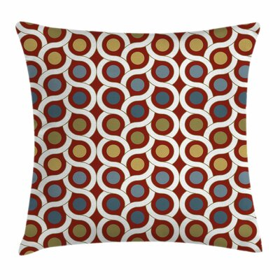 Abstract Circles Curvy Lines Square Pillow Cover Size: 16 x 16