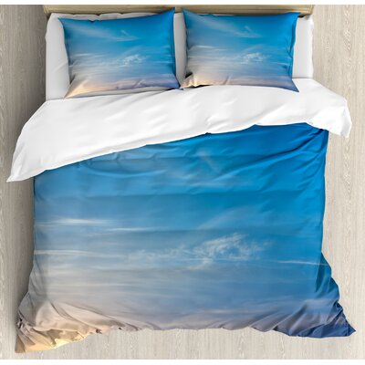 Sunrise Blurry Sky Horizon in the Middle of Nowhere Serene View Duvet Set nev_34764_queen