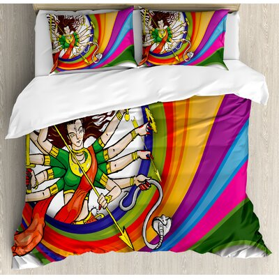 India Goddess with Vibrant Swirled Rainbow Circle Snake and Weapons Auspicious Cultural Duvet Set nev_33918_queen