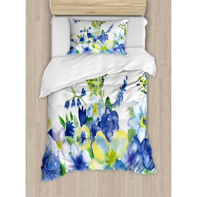 Spring Flower Watercolor Flourishing Vibrant Blooms Artsy Design Duvet Set nev_34722_twin