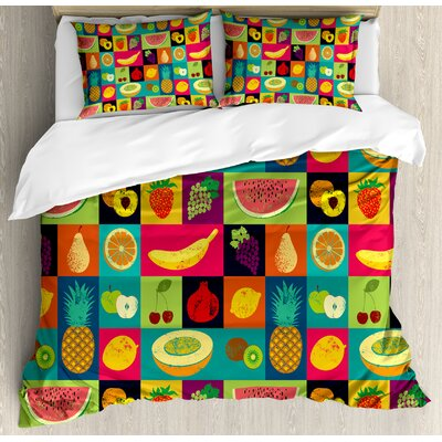 Retro Pop Art Grunge Style Fruits Collection Colourful Vintage Set Organic Food Pattern Duvet Set