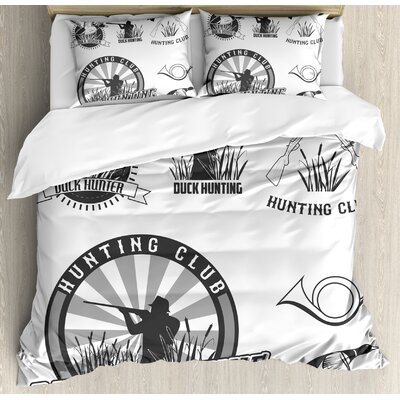 Hunting Set of Adventurous Activity Badges Wild Ducks Hunter Reeds Retro Style Duvet Set nev_35802_queen
