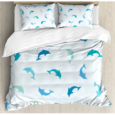 Sea Animals Leaping and Playing Dolphin Figures Aquatic Animal Marine Theme Duvet Set nev_20440_queen