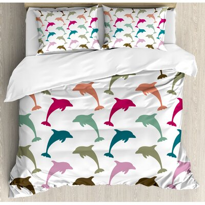 Sea Animals Colourful Dolphin Figures on Background Ocean Marine Animal Illustration Duvet Set nev_20427_queen