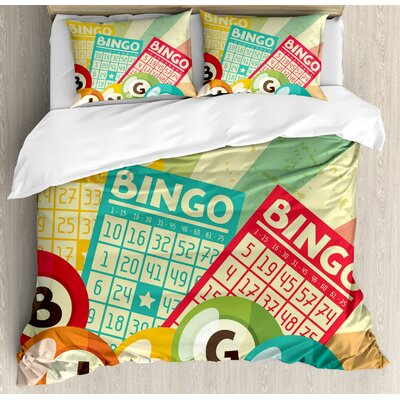 Vintage Bingo Game with Ball and Cards Pop Art Stylized Lottery Hobby Celebration Theme Duvet Set nev_20824_queen