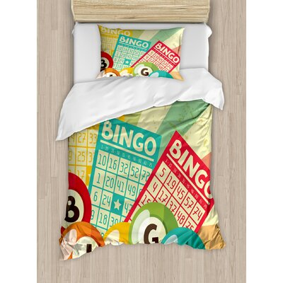 Vintage Bingo Game with Ball and Cards Pop Art Stylized Lottery Hobby Celebration Theme Duvet Set nev_20824_twin