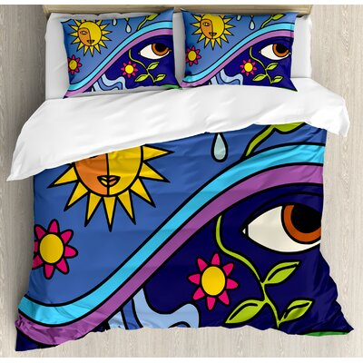 Abstract Spiritual Nature Illustration with Sun Sky Flowers and Eye Figures Eco Design Duvet Set