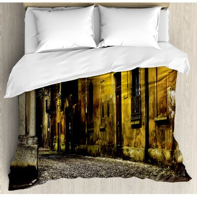Street Old Ancient Empty Dark City Streets Avenues with Big Light and Homes Photo Duvet Set ETHH1412 45304688
