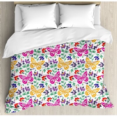 Spring Flowers Butterflies Plants Vibrant Summer Blooms Leaves Nature Wings Artful Design Duvet Set ETHG8725 45301463