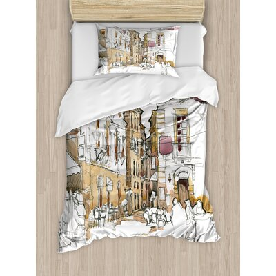Modern Painting Artistic Sketchy Like Design with Street View Houses Wires Print Duvet Set ETHG9461 45302663