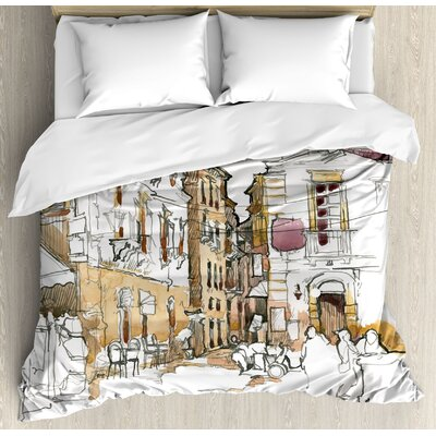 Modern Painting Artistic Sketchy Like Design with Street View Houses Wires Print Duvet Set ETHG9460 45302662