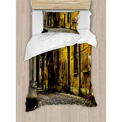 Street Old Ancient Empty Dark City Streets Avenues with Big Light and Homes Photo Duvet Set ETHH1413 45304689