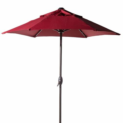 7.5 Outdoor Market Umbrella with Push Button Tilt and Crank Lift Fabric: Red