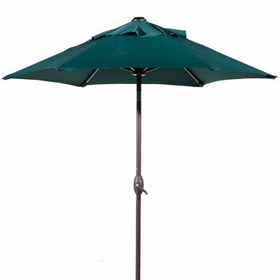 7.5 Outdoor Market Umbrella with Push Button Tilt and Crank Lift Fabric: Green