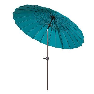 8.5 Parasol Patio Market Umbrella with Push Button Tilt and Crank Fabric: Blue