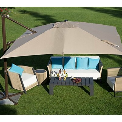 Abba Patio 10 Ft Square Easy Open Offset Outdoor Umbrella Square Parasol with Cross Base, Tan