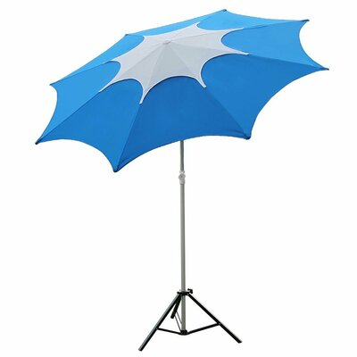 7.5 Aluminum Patio Beach Umbrella with 2 Sand Anchors and Push Button Tilt Fabric: Blue