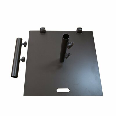 Square Patio Steel Free Standing Umbrella Base with Wheel and 2 Separate Poles