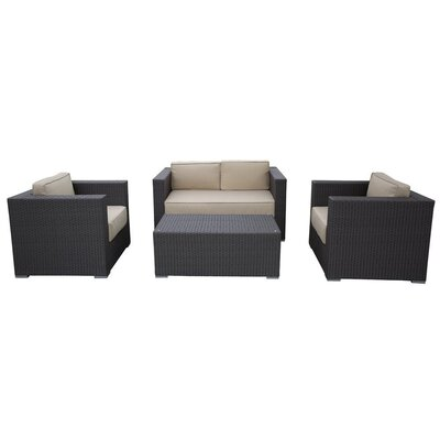 Wicker Patio 4 Piece Deep Seating Group with Cushion