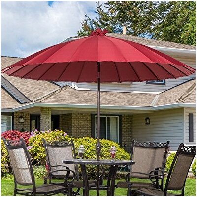 8.5 Parasol Patio Market Umbrella with Push Button Tilt and Crank Fabric: Red
