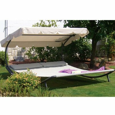 Outdoor Portable Double Chaise Lounge with Sun Shade and Wheels