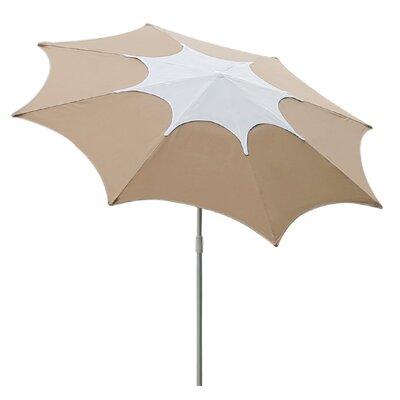 7.5 Aluminum Patio Beach Umbrella with 2 Sand Anchors and Push Button Tilt Fabric: Tan