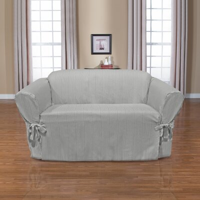 Monroe Box Cushion Loveseat Slipcover Upholstery: Slate