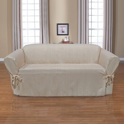 Monroe Box Cushion Sofa Slipcover Upholstery: Taupe