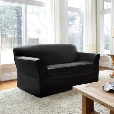 Box Cushion Loveseat Slipcover Upholstery: Ebony